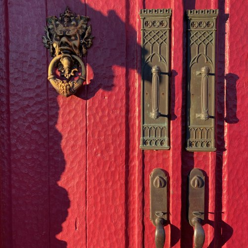 1869 Gothic Push Plates and Forrest Spirit Knocker of Fortuna.  Vintage Art Nouveau Door Handles.